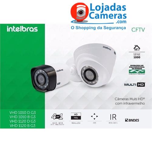 Kit CFTV Completo 04 Câmeras de Segurança Intelbras DVR 4 Canais + 4 Câmeras HD 720p + Acessórios