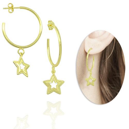 bs4080_g_Brinco de argola folheado a ouro com pingente estrela
