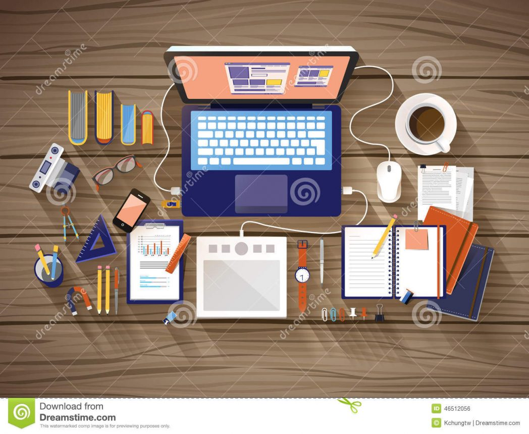 top-view-working-place-flat-design-over-wooden-table-46512056