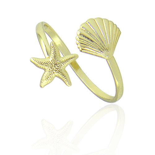 an0608_gAnel ajustável folheado a ouro com adereços em forma de estrela do mar e concha