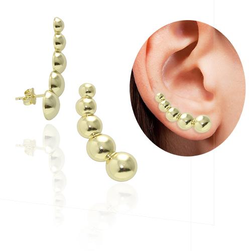 Brinco Ear Cuff com bolas folheado a ouro