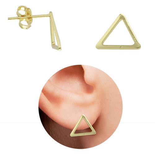 Brinco folheado a ouro em forma de um triângulo